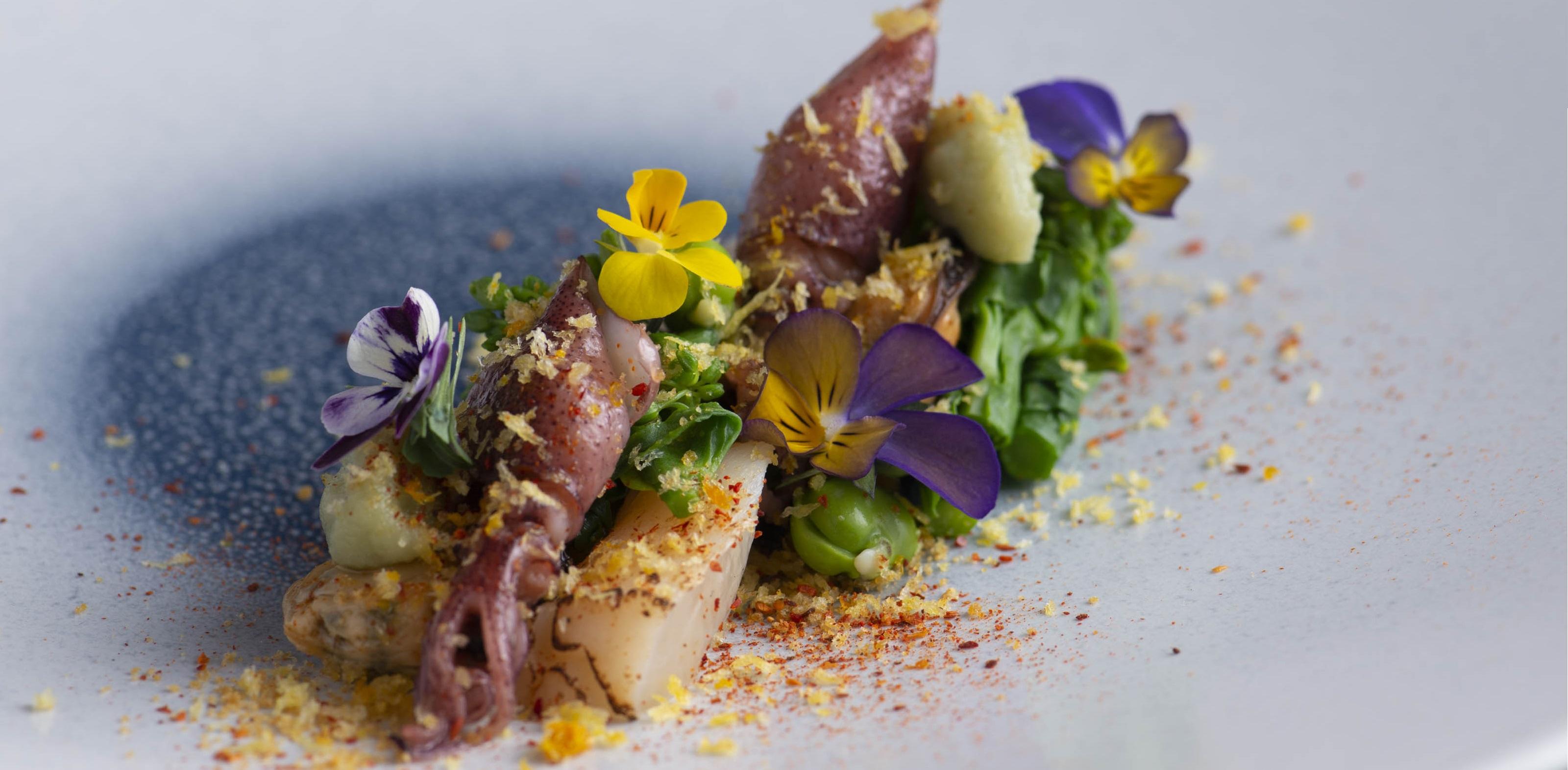 ホタルイカ・ムール貝・帆立 菜の花と空豆のサラダ仕立て加工