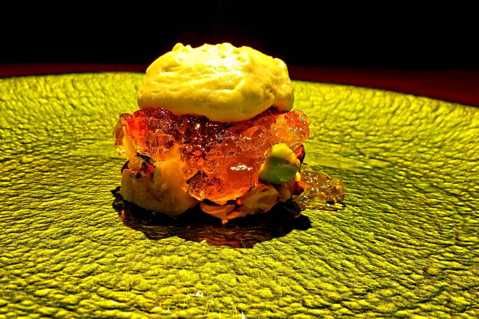 ムール貝のマリネ 帆立貝のポッシェ 揚げナスの煮浸し オマール海老 枝豆のエスプーマ